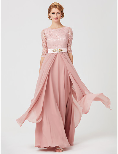 0305bb540 ADOR A-Line Jewel Neck Ankle Length Chiffon Metallic Lace Mother of the  Bride Dress with Beading Sash / Ribbon