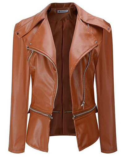 cheap Furs & Leathers-Women's Going out Street chic Fall / Winter Short Leather Jacket, Solid Colored Notch Lapel Long Sleeve Polyester Black / Beige / Army Green