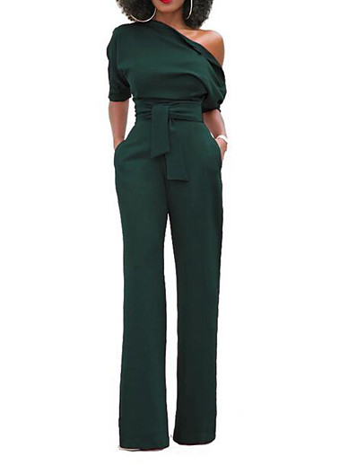 cheap Jumpsuits & Rompers-Women's One Shoulder White Black Blue Slim Jumpsuit Solid Colored / Wide Leg