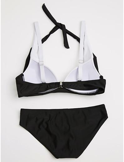 abordables TENDANCE D'ÉTÉ-Femme Licou Slip Brésilien Bikinis Maillots de Bain Maillot de bain - Bloc de Couleur S M L Lilas Bleu de minuit