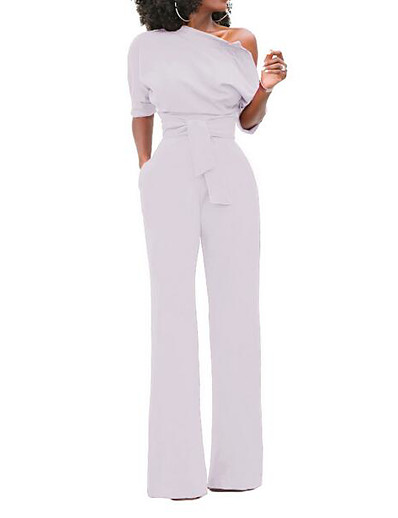 cheap Jumpsuits & Rompers-Women's One Shoulder White Black Blue Slim Jumpsuit Solid Colored / Wide Leg
