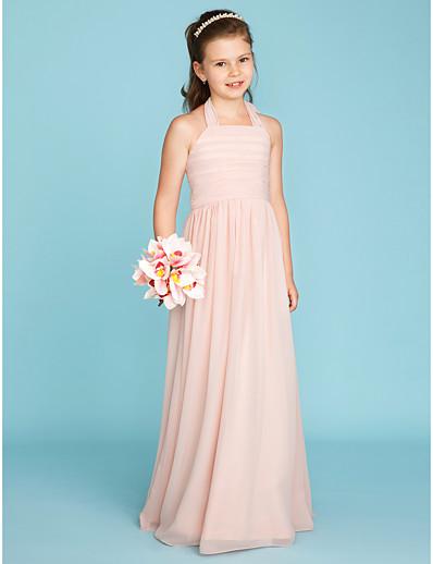 423770ffd6a726 ADOR A-Line / Princess Halter Neck Floor Length Chiffon Junior Bridesmaid  Dress with Ruched / Pleats