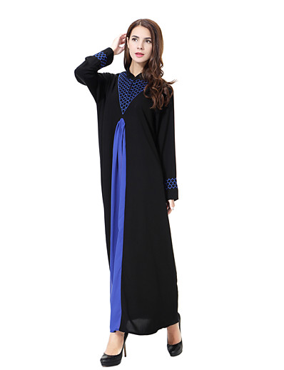 cheap Plus Size Dresses-Women's Plus Size Daily Basic Boho Maxi Loose Loose Dress - Solid Color Stand Blue Gold Green XL XXL XXXL