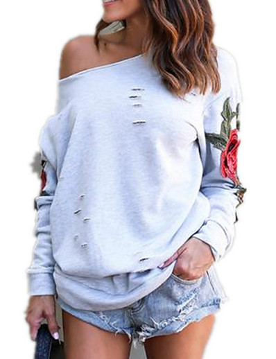 cheap Best Sellers-Women's Going out Cotton Loose Sweatshirt - Floral / Embroidery / Plaid Black XXXL / Fall / Sexy