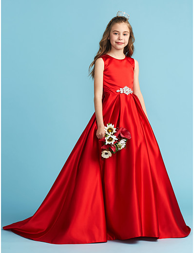 dd7c24508 ADOR A-Line / Princess Jewel Neck Floor Length Satin Junior Bridesmaid Dress  with Bow(s) / Crystals / Pleats