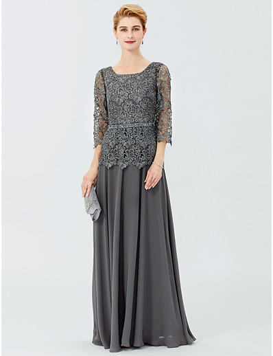 6e69c276f6a ADOR A-Line Ball Gown Scoop Neck Floor Length Chiffon Corded Lace Mother of  the Bride Dress with Beading Sashes   Ribbons