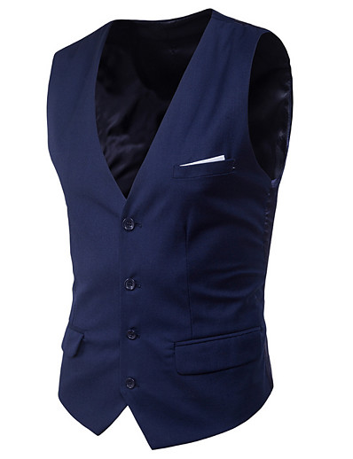 cheap Men's Outerwear-Men's Vest Daily Solid Colored Tailored Fit Polyester Men's Suit Purple / Wine / Royal Blue - V Neck / Spring / Sleeveless