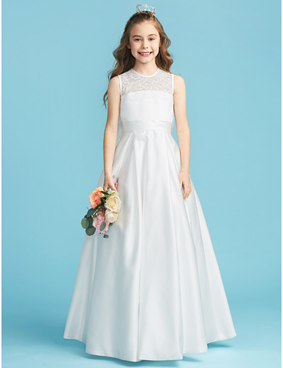 cccf22ffb ADOR A-Line / Princess Jewel Neck Floor Length Lace / Satin Junior  Bridesmaid Dress with Bow(s) / Lace / Pleats