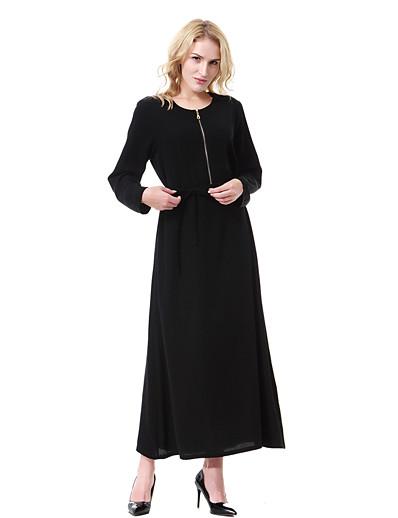cheap Casual Dresses-Women's Daily Basic Boho Maxi Loose Dress - Solid Color Black Pink Light Green L XL XXL