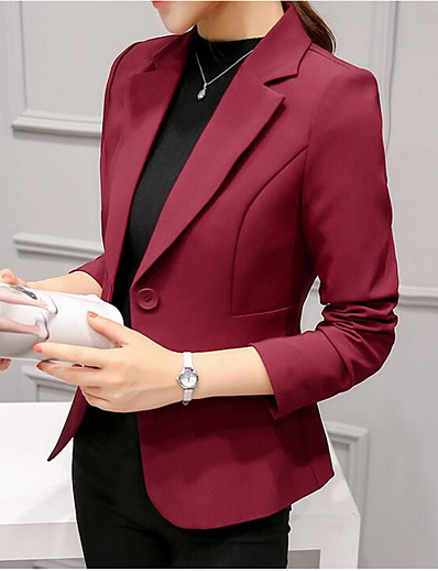 cheap Jackets-Women's Blazer Solid Colored Classic Style Ordinary Polyester Daily Normal Coat Tops Black