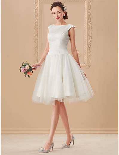 a1edf232376 ADOR Ball Gown Bateau Neck Knee Length Satin   Tulle Wedding Dresses with  Draping