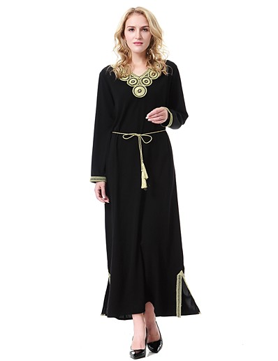 cheap Casual Dresses-Women's Plus Size Daily Basic / Boho Maxi Loose Loose Dress - Color Block V Neck Spring Blue Green Black XL XXL XXXL