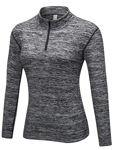 cheap Running, Jogging & Walking-YUERLIAN Women's Long Sleeve Compression Shirt Zip Top Base Layer Top Athletic Breathability Exercise & Fitness Running Walking Jogging Sportswear Solid Colored Dark Grey Blue Grey Burgundy Black