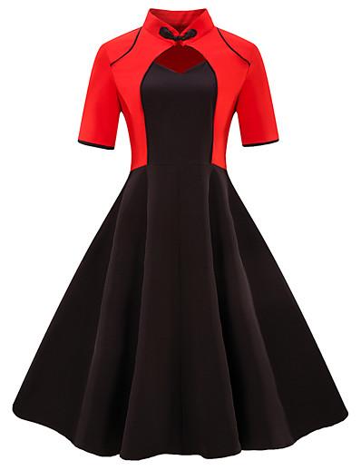 cheap Vintage Dresses-Women's Plus Size Daily Going out Vintage Basic Slim Sheath Dress - Color Block Black & Red V Neck Summer Black Red XXL XXXL XXXXL