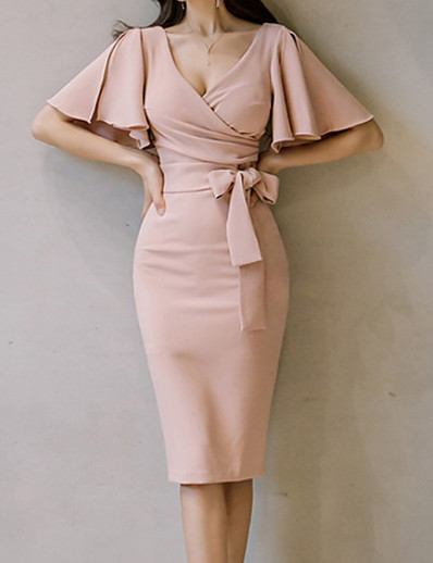cheap Work Dresses-Daily Butterfly Sleeves Slim Bodycon Dress Solid Colored Ruched High Waist V Neck Summer Cotton Pink M L XL / Sexy