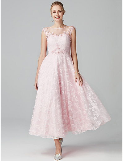 ADOR Prom Dress A-Line Illusion Neck Tea Length Lace Beautiful Back   See  Through with Beading   Appliques 71965525e