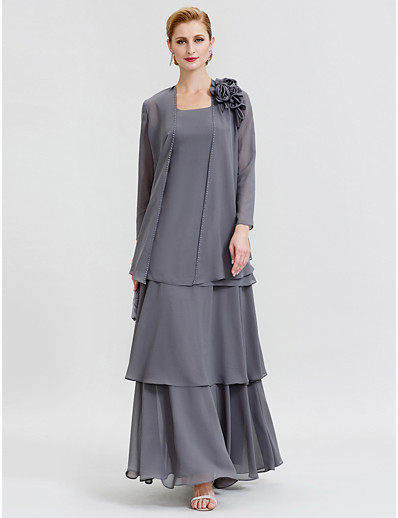 764bc644696 ADOR A-Line Two Piece Scoop Neck Floor Length Chiffon Mother of the Bride  Dress with Beading Tiered Flower