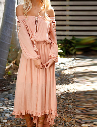 cheap SALE-Women's Maxi Dusty Rose Dress - Long Sleeve Solid Colored Lace Spring Summer Off Shoulder Boho Holiday White Blushing Pink S M L XL