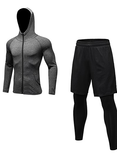 cheap Running, Jogging & Walking-YUERLIAN Men's 2 Piece Full Zip Athletic Activewear Set Workout Outfits Compression Suit Long Sleeve Quick Dry Breathability Fitness Gym Workout Basketball Running Walking Sportswear Solid Colored