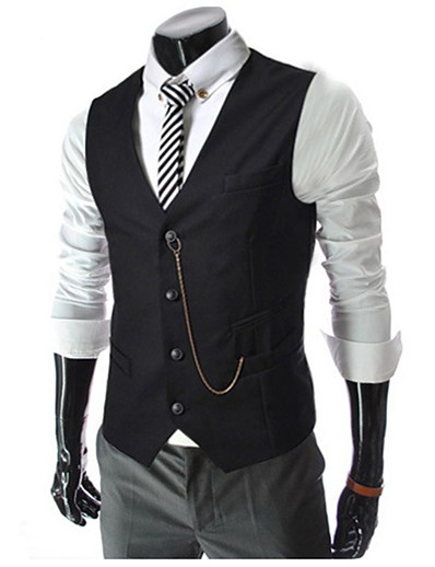 cheap Men's Outerwear-Men's Vest Solid Colored Regular Daily Work White / Black / Red M / L / XL