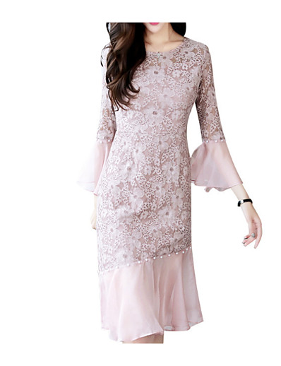 cheap Elegant Dresses-Women's Lace Party Going out Skinny Bodycon Sheath Dress - Solid Colored Dusty Rose, Lace High Waist Spring Black Blushing Pink Beige M L XL / Sexy