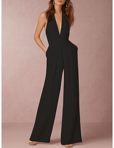 cheap Jumpsuits & Rompers-Women's Sexy Daily Halter Neck Wide Leg Black Red Wine Jumpsuit Solid Colored Backless