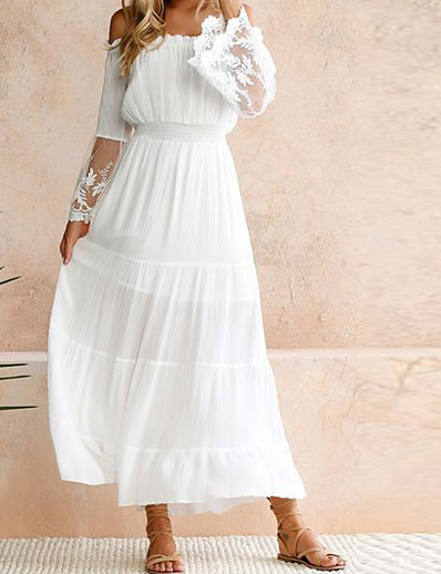 cheap Summer Dresses & Boho-Women's Maxi White Swing Dress - Long Sleeve Solid Colored Lace Spring Summer Off Shoulder Party Beach Off Shoulder White S M L XL