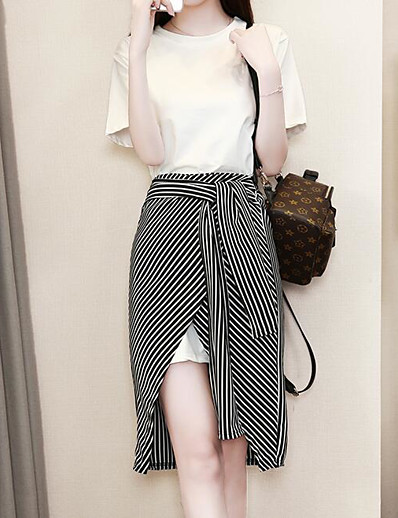 cheap WOMEN'S FASHION-Women's Plus Size Daily Basic Puff Sleeve Blouse - Solid Colored Striped, Print Skirt / Summer / Fine Stripe