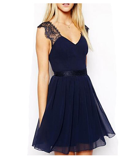cheap Elegant Dresses-Women's Backless Going out Chiffon Dress - Solid Colored Lace Backless V Neck Summer Blue S M L XL