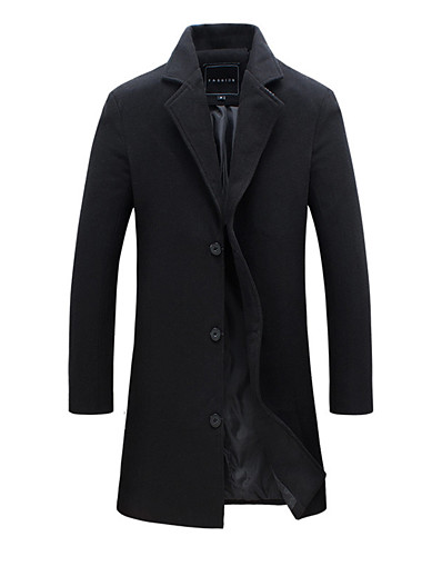 cheap Men's Outerwear-Men's Work Fall / Winter Plus Size Long Trench Coat, Solid Colored Fantastic Beasts Turndown Long Sleeve Cotton / Polyester Black / Wine / Blushing Pink