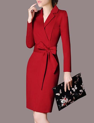 cheap Work Dresses-Women's Bow Plus Size Party Work Street chic Sophisticated Slim Bodycon Dress - Solid Colored Bow Shirt Collar Fall Black Red XXL XXXL XXXXL / Sexy