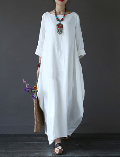 cheap Maxi Dresses-Women's Maxi long Dress - 3/4 Length Sleeve White Spring Fall Plus Size Hot Casual Cotton Oversized White Black Red Green Light Blue L XL XXL 3XL 4XL 5XL
