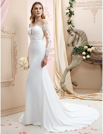 a68fbad5f7 ADOR Mermaid / Trumpet Bateau Neck Chapel Train Chiffon / Corded Lace Wedding  Dresses with Appliques / Buttons
