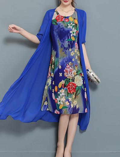 cheap Mother Dresses-Women's Plus Size Going out Chiffon Two Piece Dress - Floral Blue, Print Summer Blue Black XXL XXXL XXXXL