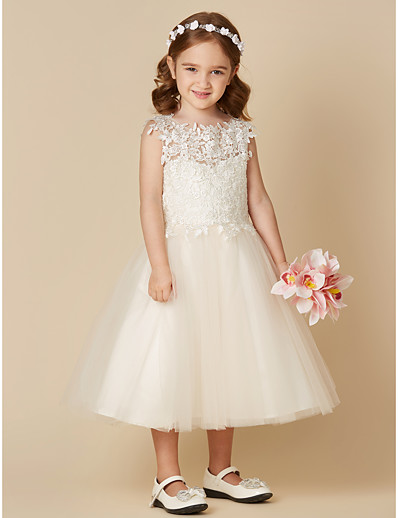 3443d1425 ADOR A-Line Tea Length Flower Girl Dress - Lace / Tulle Sleeveless Jewel  Neck with Lace