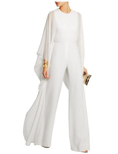 cheap 2021 TRENDS-Women's Party Wide Leg White Black Blue Jumpsuit Solid Colored