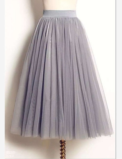 cheap Pants & Skirts-Women's Tutus / Cute Maxi Swing Skirts - Solid Colored Tulle White Black Gray M L XL