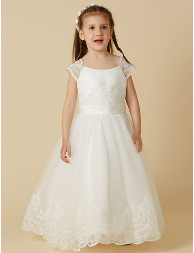 0be575085df ADOR A-Line Floor Length Flower Girl Dress - Lace   Tulle Short Sleeve Scoop  Neck with Buttons   Sash   Ribbon