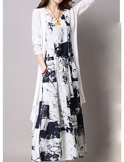 cheap Plus Size Dresses-Women's Plus Size Party Maxi Slim Tunic Dress - Graphic Print V Neck Summer Cotton Blue Black XXXL XXXXL XXXXXL