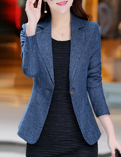 cheap OUTERWEAR-Women's Daily / Work Basic / Street chic Spring / Fall Plus Size Regular Blazer, Solid Colored Notch Lapel Long Sleeve Polyester / Others Blue