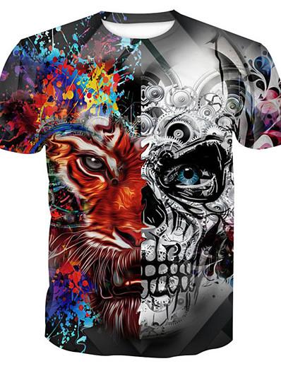 cheap Men's 3D-Men's T shirt Graphic Skull Animal Print Short Sleeve Halloween Tops Basic Round Neck Gray / Summer