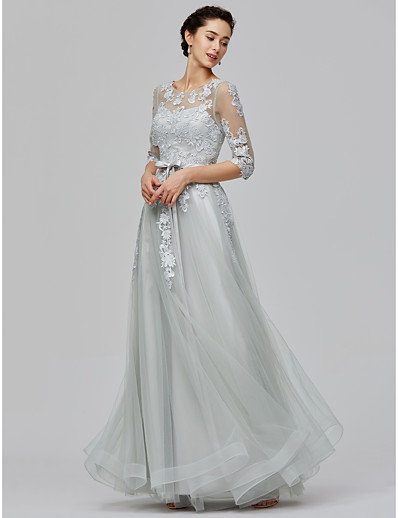 161dc9b27e4a ADOR Evening Dress A-Line Illusion Neck Floor Length Tulle / Sheer Lace See  Through with Lace