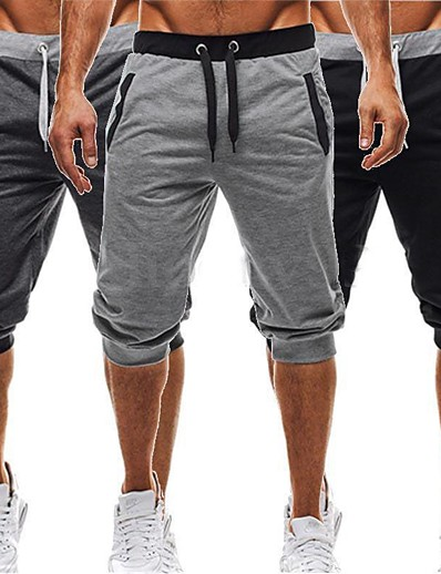 cheap Running, Jogging & Walking-Men's Running Shorts Casual Baggy Shorts Harem Cotton Fitness Gym Workout Casual Exercise Lightweight Breathability Sport Black Dark Gray Light gray / Micro-elastic