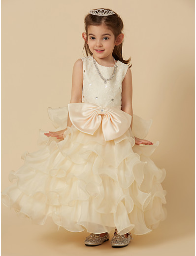 23187eb6a19 ADOR Princess Ankle Length Flower Girl Dress - Lace   Organza Sleeveless Jewel  Neck with Beading   Bow(s)   Lace