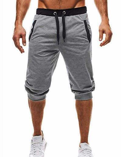cheap Men's Bottoms-Men's Basic / Street chic Daily Sports Holiday Chinos / Shorts wfh Sweatpants - Color Block Black & Gray, Patchwork / Drawstring Summer Fall Black Dark Gray Light gray L XL XXL / Beach
