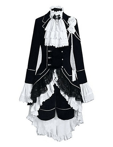 cheap Anime Cosplay-Inspired by Black Butler Ciel Phantomhive Anime Cosplay Costumes Japanese Patchwork Color Block Outfits Vest Shirt Skirt Long Sleeve For Women's Men's / Headpiece / Headpiece