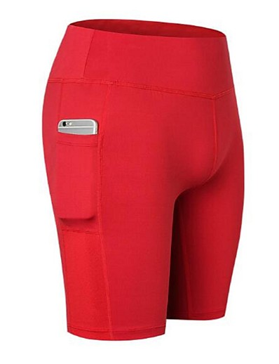 cheap Running, Jogging & Walking-YUERLIAN Women's Compression Shorts Athletic Shorts Compression Clothing with Phone Pocket Spandex Yoga Fitness Gym Workout Running Exercise Lightweight Quick Dry Anatomic Design Sport Solid Colored