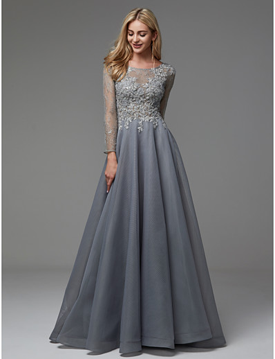 062a7cd6a80 ADOR Evening Dress A-Line Boat Neck Floor Length Organza   Tulle with  Beading   Appliques