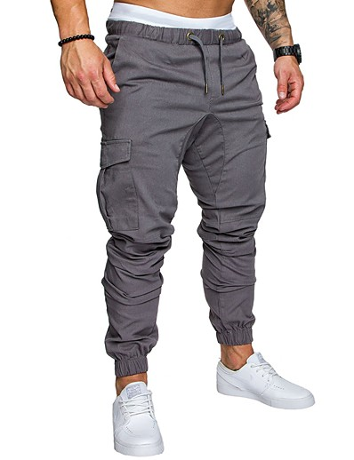 cheap Men's Bottoms-Hiking Pants Men's Basic Plus Size Daily wfh Sweatpants / Cargo Pants - Solid Colored Spring Fall Navy Blue Khaki Light gray XXL XXXL XXXXL