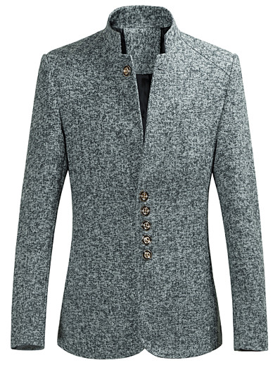 cheap Men's Outerwear-Men's Blazer Party Daily Solid Colored Spandex / Polyester Men's Suit Wine / Gray / Black - Stand Collar / Long Sleeve